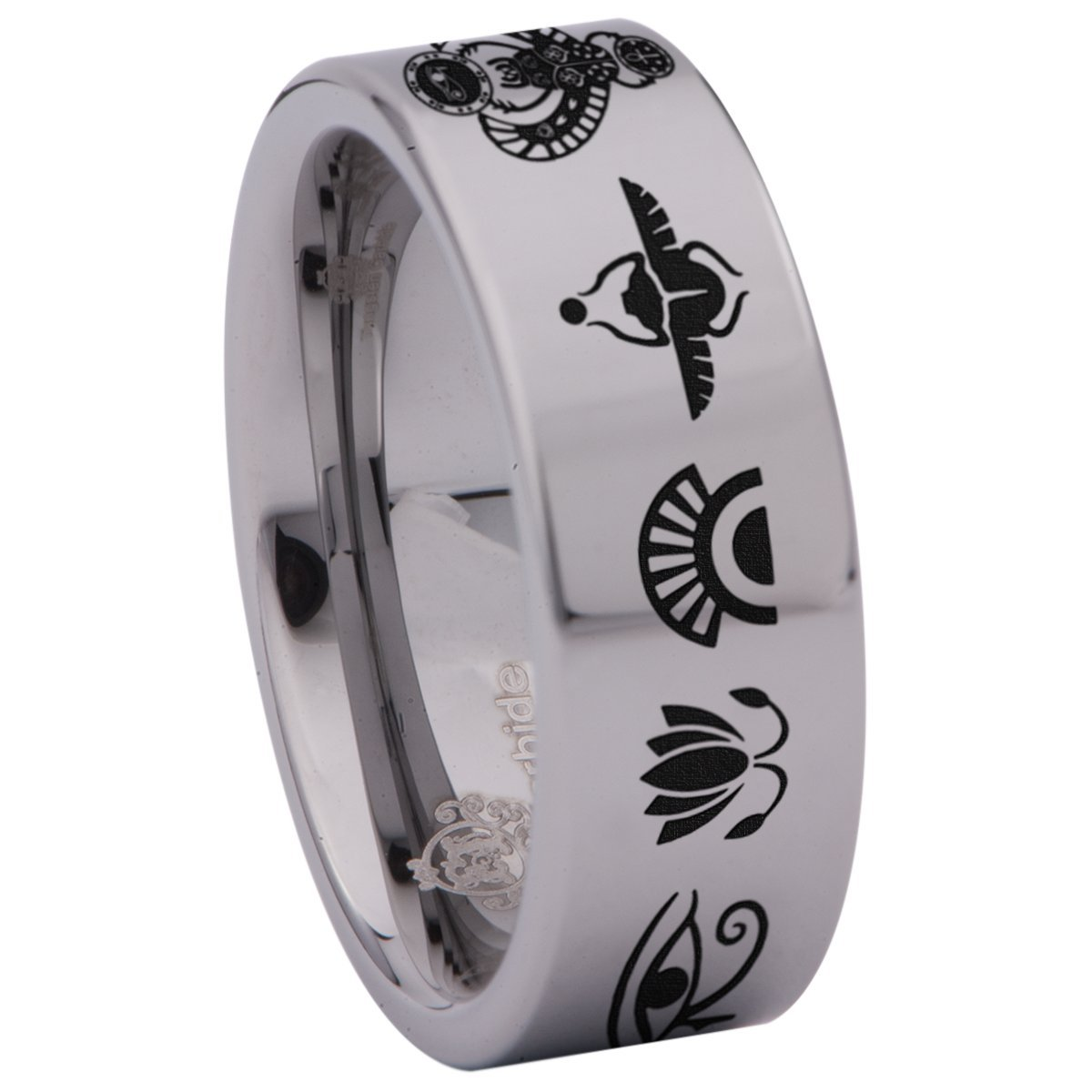 Friends of Irony Tungsten Carbide Egyptian Ring Wedding Band Anniversary Ring for Men and Women 8mm