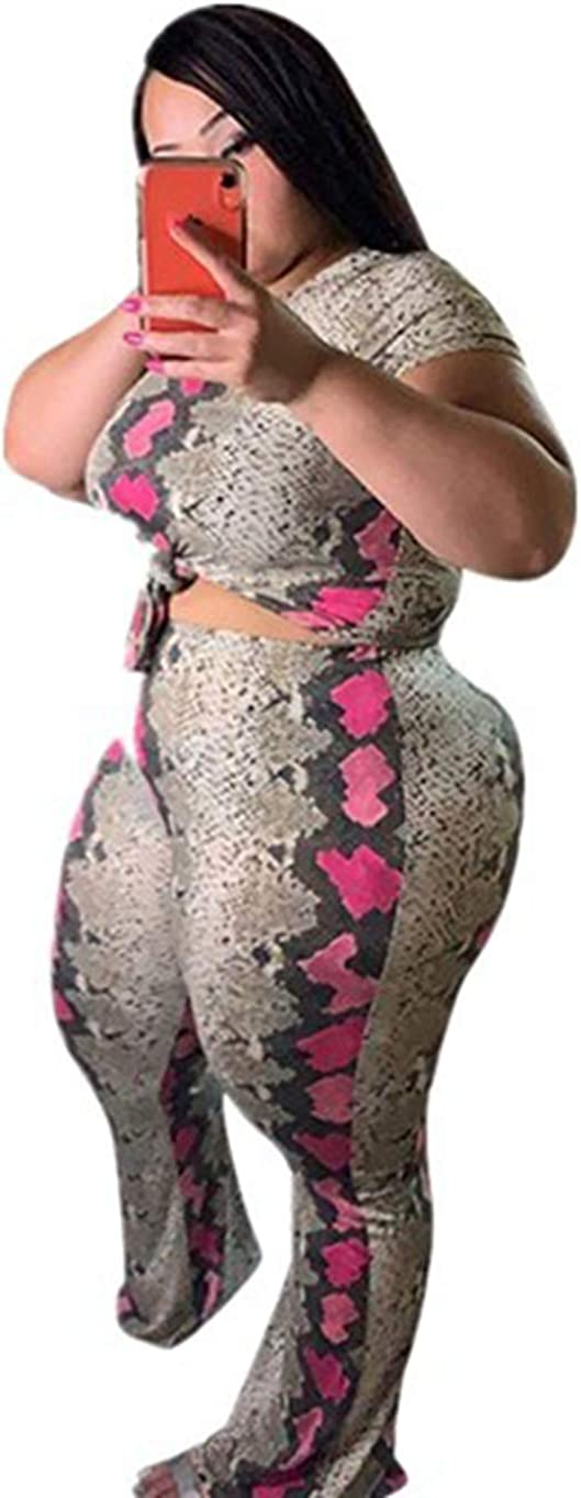 Women Plus Size Sets Casual Two Piece Outfits Snake Print Short Sleeve Round Neck Long Pants Sets Jumpsuits
