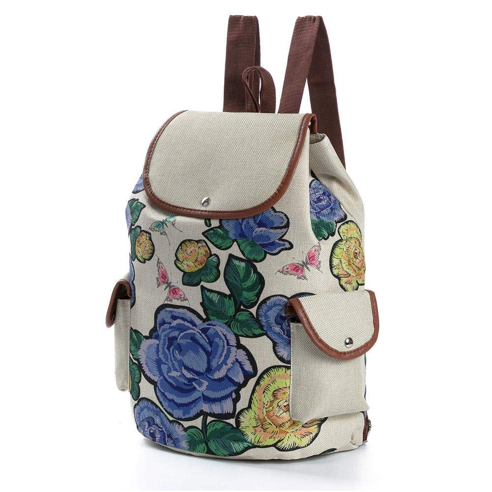 e275066513 Amazon.com  Tuankay Girls Preppy Backpack Flower Print Bags Travel Rucksack  School Bag (Blue)  Shoes