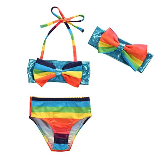 f34dc10274444 Amazon.com  Mrs.Baker Home 3pcs Cute Baby Girls Big Bowknot Rainbow Stripe  Bikini Beachwear Swimwear Set  Clothing