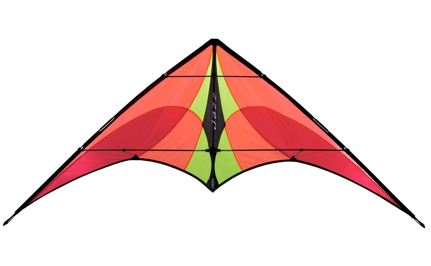 Prism Jazz Dual Line Delta Framed Stunt Kite with 40' Tail Bundle (3 Items) + Prism 40ft Nylon Ripstop Streamer Tail + WindBone Kiteboarding Lifestyle Stickers + Key Fob (Fire)