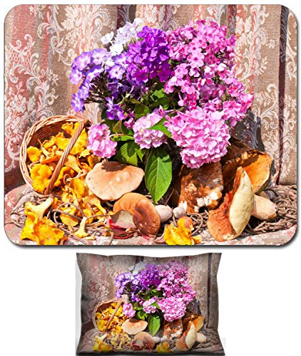 Liili Mouse Wrist Rest and Small Mousepad Set, 2pc Wrist Support ID: 22026772 phlox bouquet with chanterelles and boletus edulis mushrooms still life