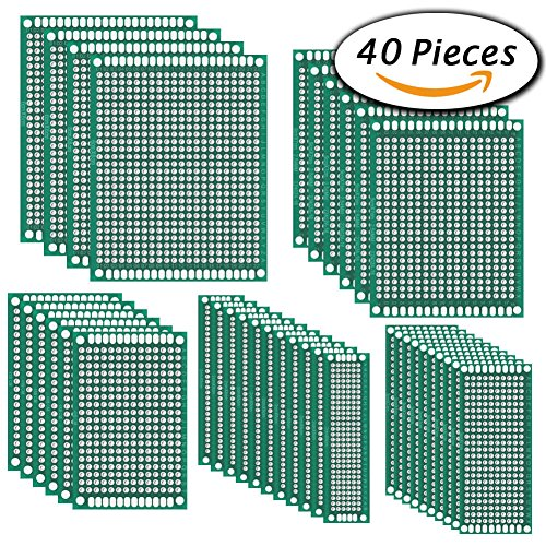 Paxcoo 40Pcs Double Sided PCB Board Prototype Kit for DIY Soldering and Electronic DIY projects, 5 Sizes Blank Components Kit
