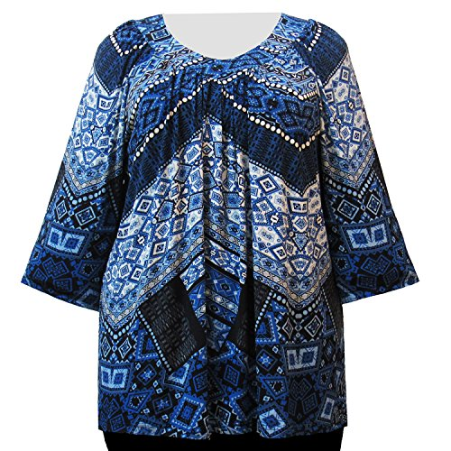 A Personal Touch Blue Tribal Geometric Women's Plus Size V-Neck Top - 6X