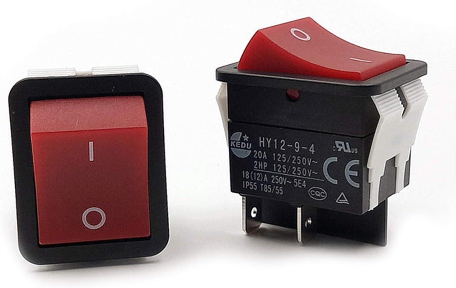 LICHIFIT 1PC KEDU Power On Off Interrupteur /à bascule Bouton-poussoir 4 brochesIP55 T85HY12-9-4
