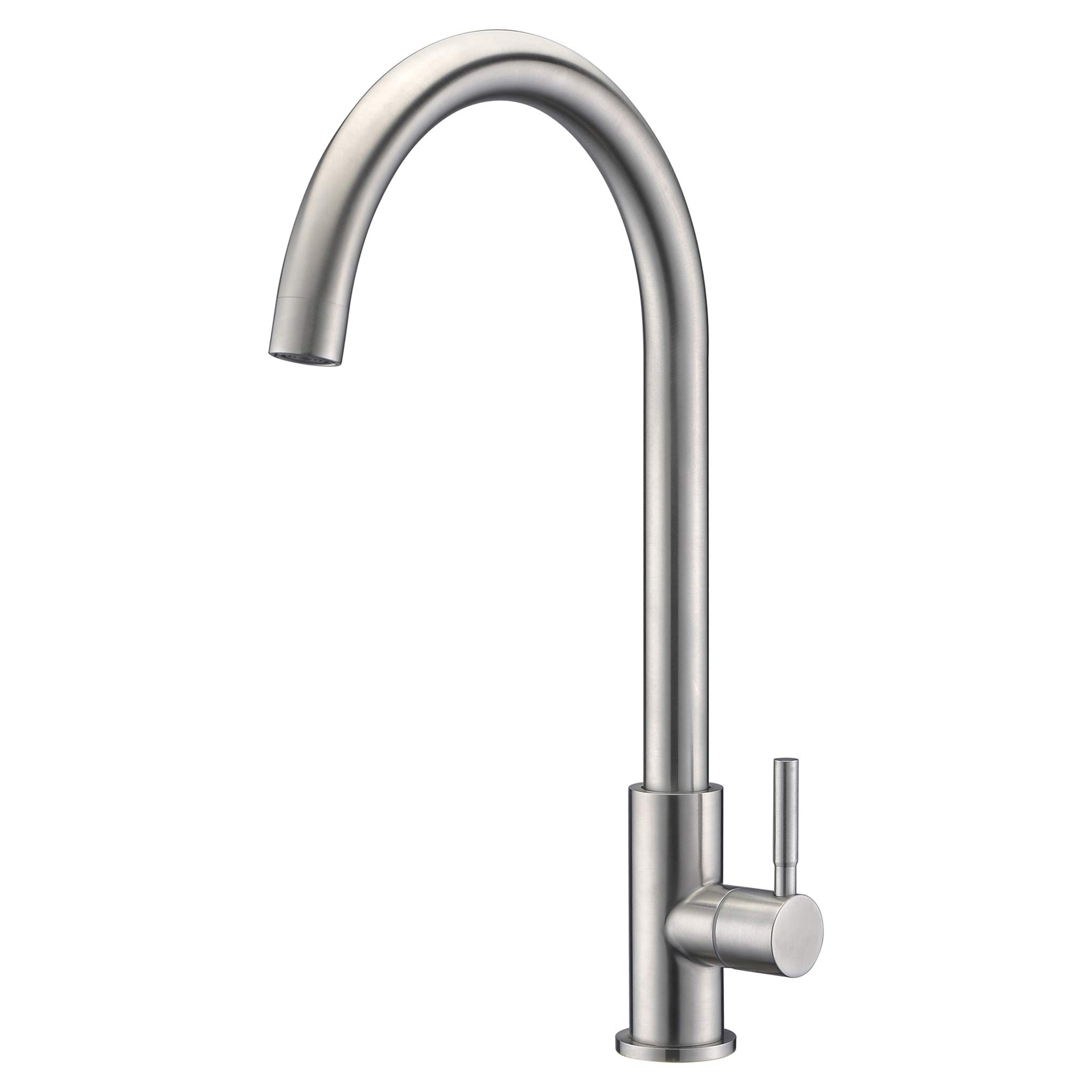HUASONG Home Simple Basic Single Function Brushed Nickel 304 Stainless Steel Kitchen Sink Faucet, Solid Construction For Cold Water Only