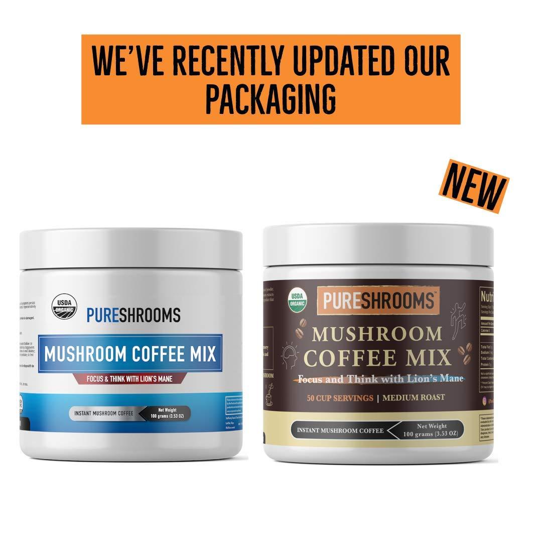 PureShrooms Mushroom Coffee, USDA Organic Coffee with Lion's Mane Mushroom   Dual-Extracted,
