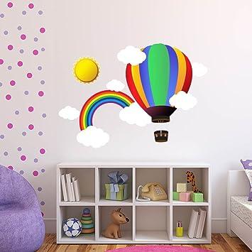 Tilkidünyası Uçan Balon Gökkuşağı Güneş Bulutlar çocuk Odası