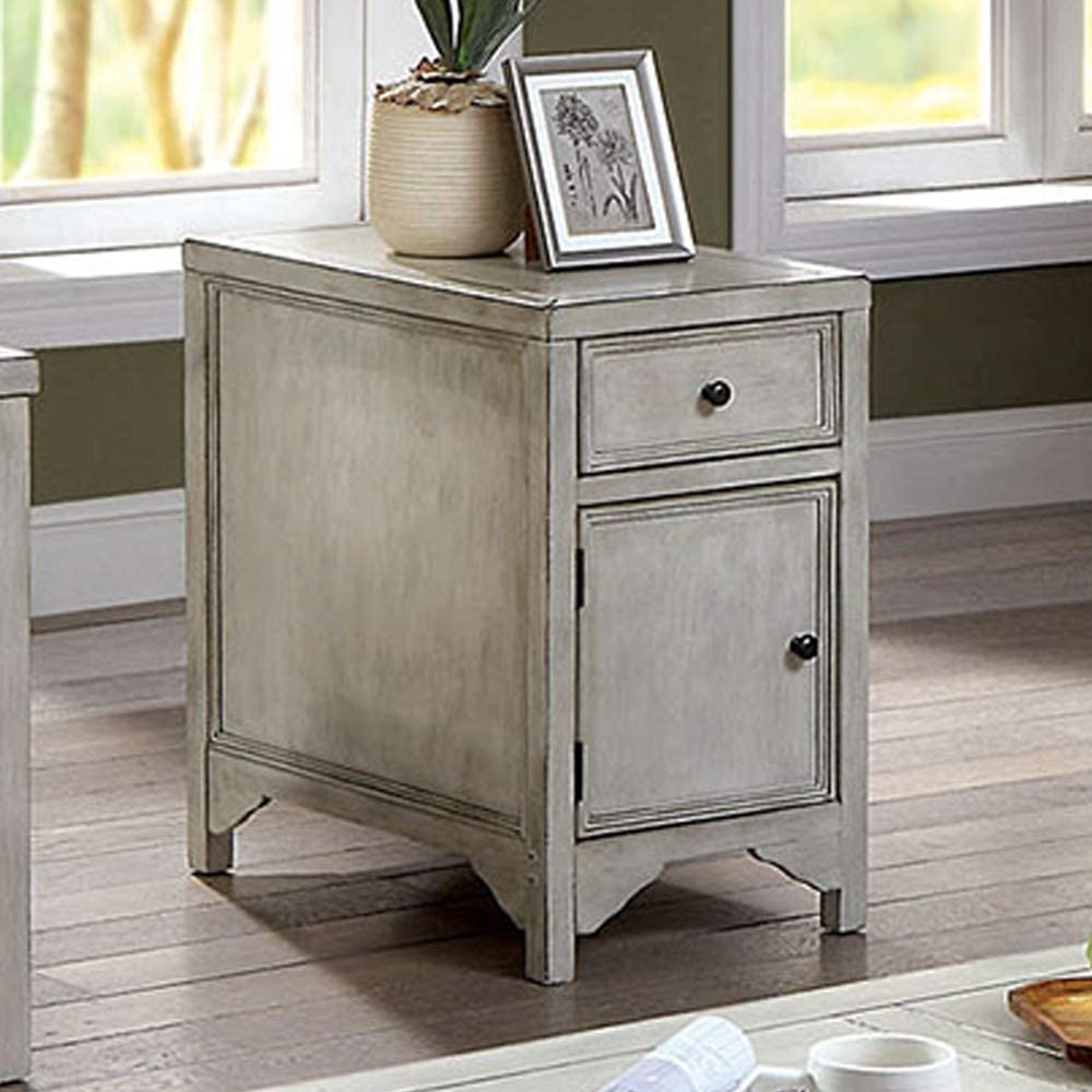 William's Home Furnishing Meadow Side Table, Antique White