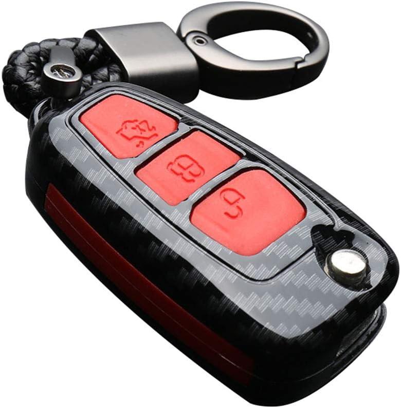 rosso Happyit Guscio in fibra di carbonio e portachiavi in silicone per Ford Focus Mondeo Edge Fiesta Kuga Mondeo MK4 Fusion Escort Ecosport Una fibra di carbonio