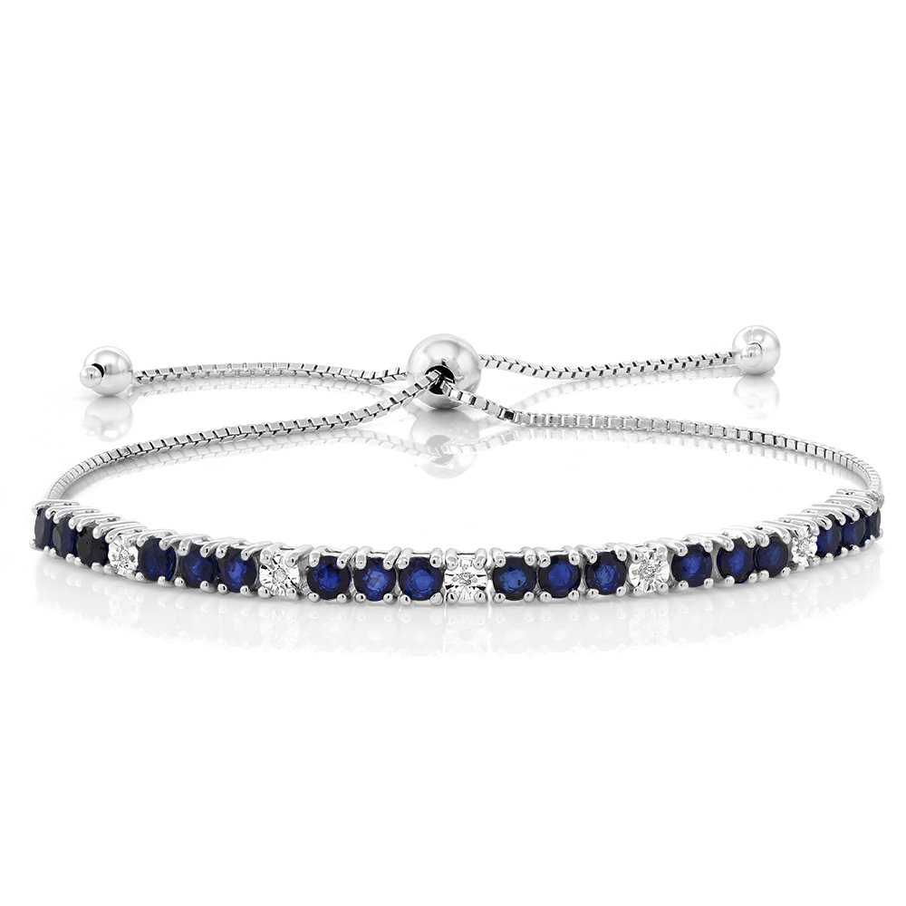Gem Stone King Sterling Silver Blue Sapphire and White Diamond Tennis Bracelet Jewelry for Women's 2.05 cttw Fully Adjustable Up to 9 Inch by Gem Stone King