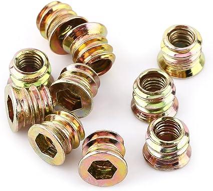 M6*10mm Verzinktes Carbon Stahl Innensechskant Schraube Vollgewinde M/öbel Hex Antriebsmutter Holz Einsetzmuttern M6 // M8 // M10