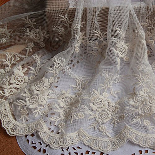 Beige 4 1/2 Yards Retro Floral Embroidered Mesh Lace Dress Edge Lace Trim Fabric Ribbon Wedding Bridal Veils Craft 9 1/2 Inches - Trim Embroidered Lace Mesh