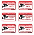 Loud Signs 24 Hour Video Surveillance Sign, CCTV Sign, Warning Sign, Recording In Progress Sign, Video Surveillance Decals - 6 pack from Loud Signs