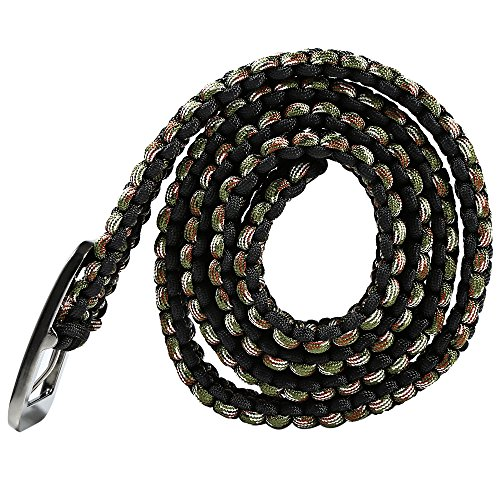 Review Tactical Waist Belt Survival Woven Belt For Camping, Hunting, Hiking, and Other Outdoor Activities(Can be Unraveled into a 28 Meters Parachute Cord,Pulling Force:550lbs) (BLACK CAMOUFLAGE)