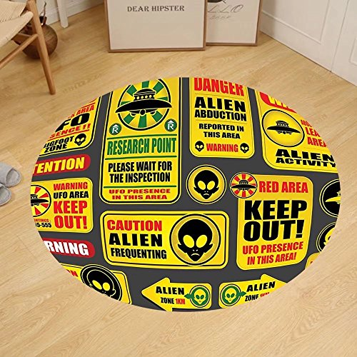Gzhihine Custom round floor mat Outer Space Decor Warning Ufo Signs with Alien Faces Heads Galactic Paranormal Activity Design Bedroom Living Room Dorm Yellow by Gzhihine