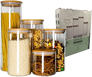 Five14 5-Pc. Stackable Kitchen Canisters Set Glass Jars with Air-Tight Bamboo Lids, Food Storage Containers for Spice Sugar, Kitchen Pantry Organization Bathroom Storage, Storage Jars with Lids