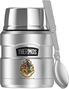 Harry Potter Hogwarts School Crest, THERMOS STAINLESS KING Stainless Steel Food Jar with Folding Spoon, Vacuum insulated & Double Wall, 16oz