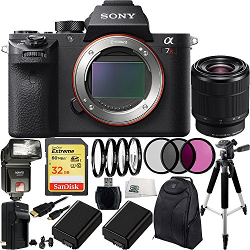 Sony Alpha a7R Mark II a7R II a7RII ILCE7RM2B Mirrorless Camera with Sony FE 28-70mm f3.5-5.6 OSS Lens 32GB Bundle 17PC Accessory Kit. Includes SanDisk 32GB Extreme SDHC Class 10 Memory Card (SDSDXN-032G-G46)  High Speed Memory Card Reader  3PC Fil...