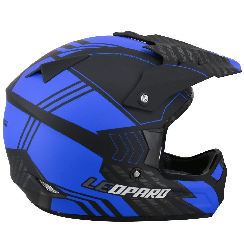 57-58cm Leopard LEOX307 Casco de Moto Motocross Negro Mate//Azul M para Ciclomotor Motocicleta y Scooter Mujer y Hombre ECE Homologado