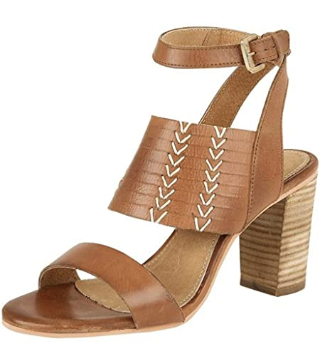cd2a854f7b6 RAVEL - LENOX LADIES TAN BROWN LEATHER WRAP AROUND STRAP WOOD BLOCK HIGH MID  HEEL SANDALS