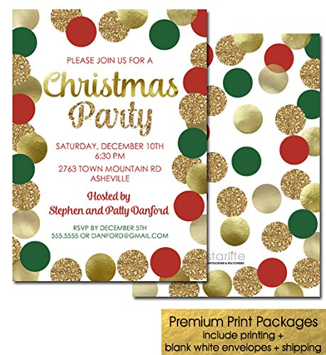 Amazon Com Printed Christmas Party Invitations Red Green Gold