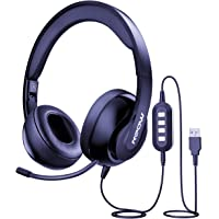 Mpow 224 3.5mm/USB Headset with Microphone, Foldable Computer Headphones with Retractable Noise