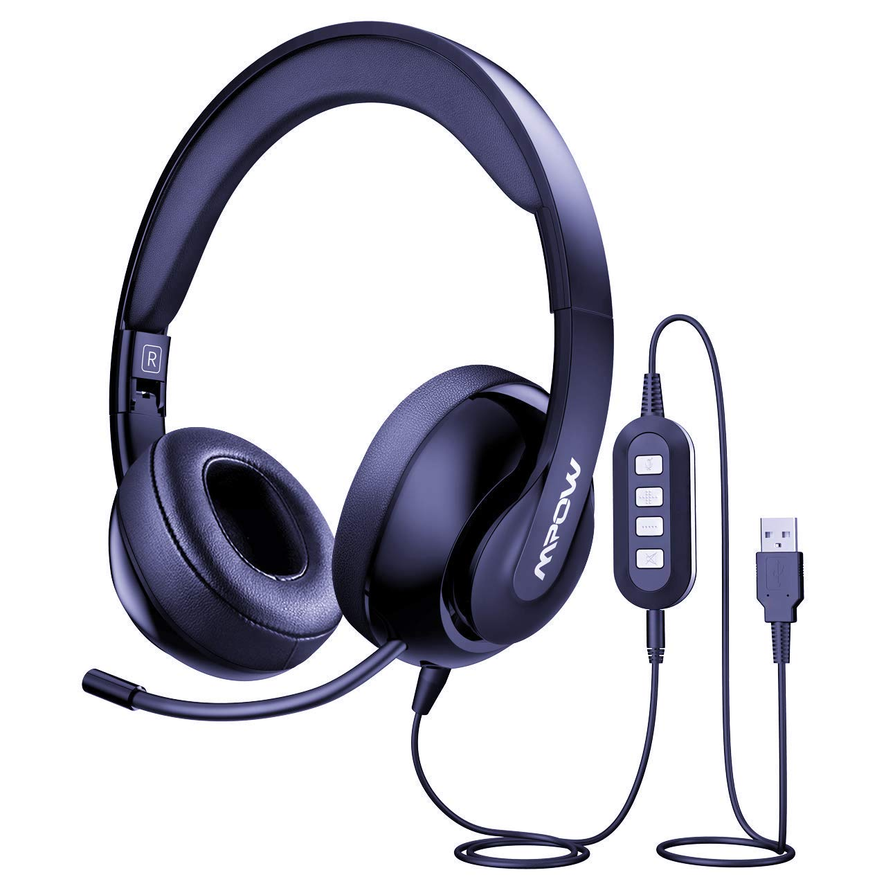 Mpow 224 3.5mm/USB Headset with Microphone, Foldable Computer Headphones with Retractable Noise Cancelling Mic, All-Platform Compatible Lightweight USB Headset for PC/Phone/ Laptop/Skype/ School