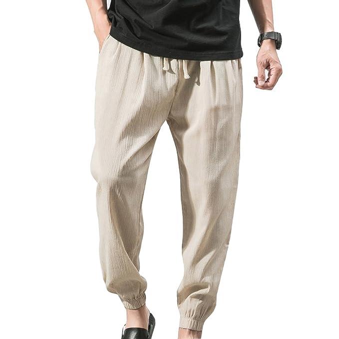 Tienew Pantalones Hombre Verano Pantalones De Lino Sueltos Pantalon De Playa Con Bolsillos Laterales Pantalones Hombres 3 4 Longitud Pantalone Casuales Transpirable Comodo Claros Pantalones Pantalones Ropa