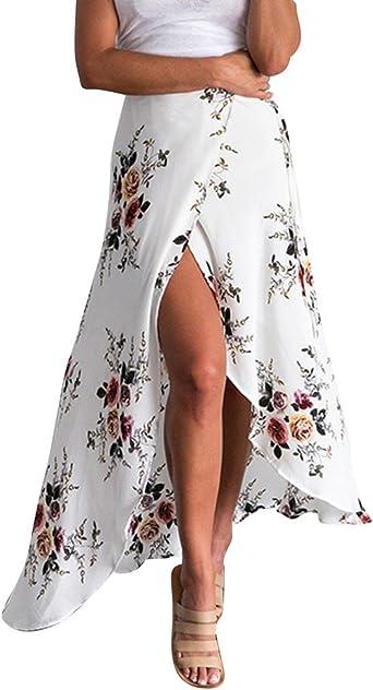 Jupe Longue Fendue Robe De Plage Fleur Robe Courte Devant Longue Derriere Amazon Fr Vetements Et Accessoires