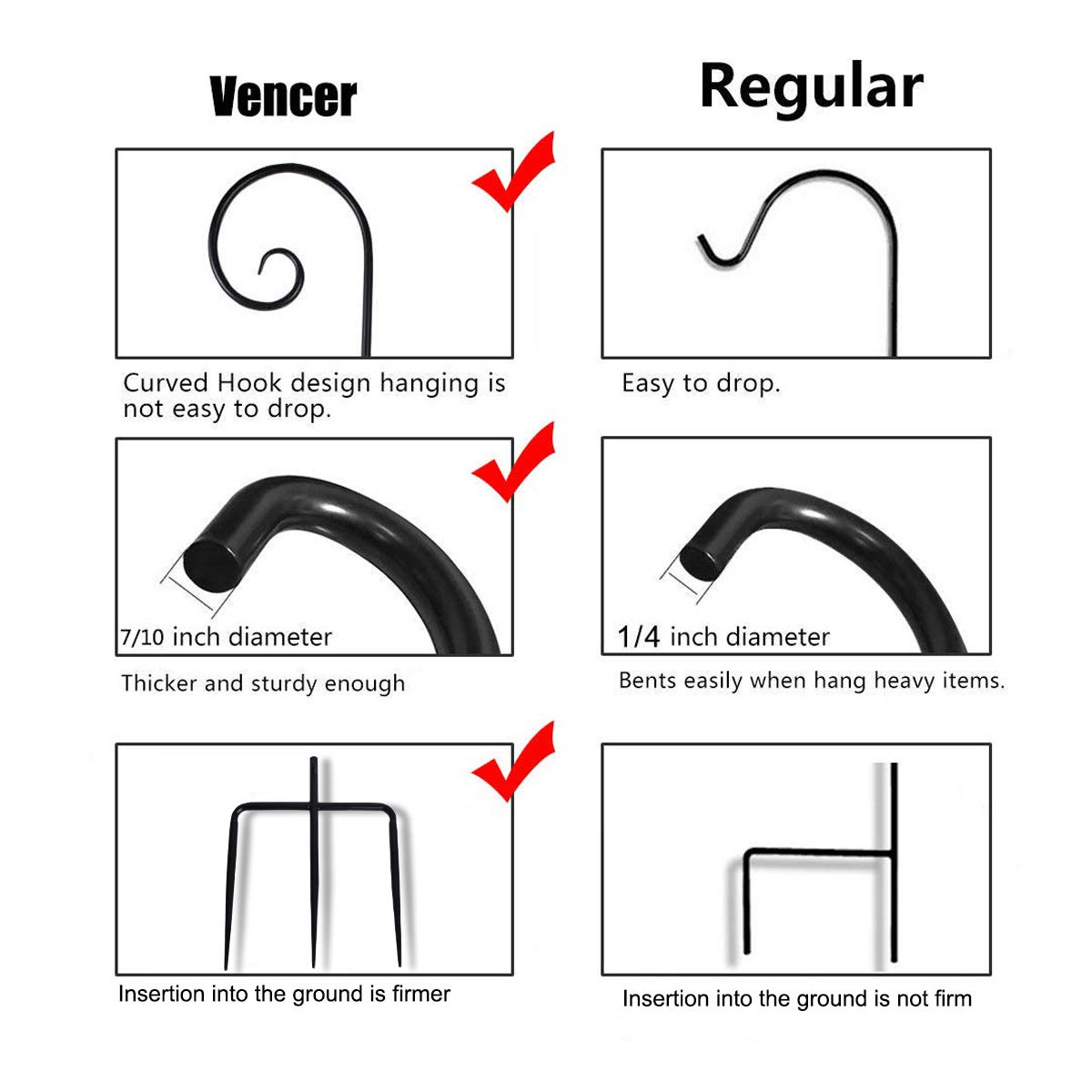Vencer Set of 2 Double Shepherd Hook 94 Inch Heavy Duty 7/10 in Thick Rust Resistant Premium Metal Hook for Weddings Hanging Plant Baskets Solar Lights Christmas Lights Lanterns Bird Feeders,VHH-002 by Vencer (Image #3)