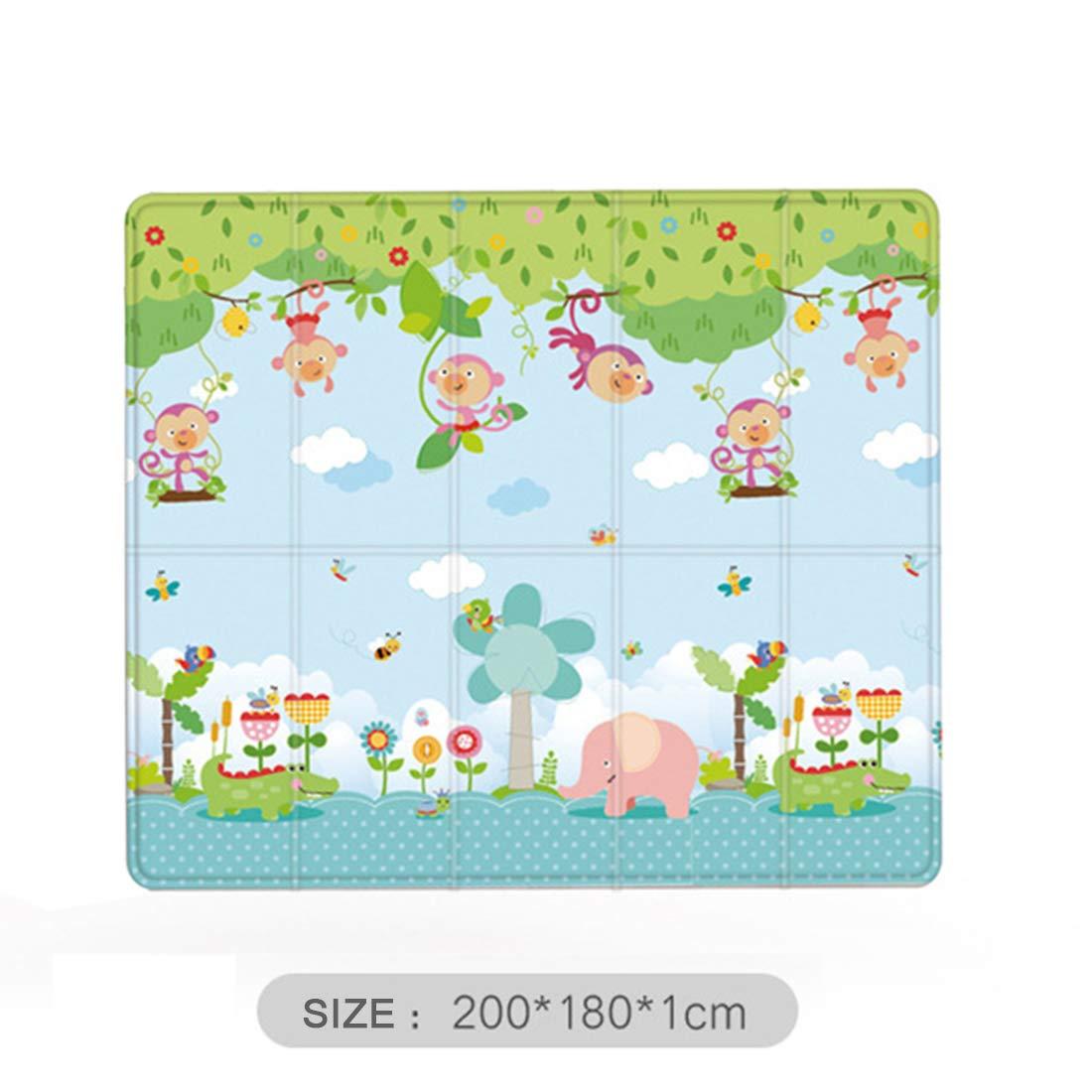 Sunbary Spielmatte Baby Gro/ß Teppich Spielteppich Faltbarer Krabbelmatte Ungiftig XPE-Schaumboden Rutschfest Beidseitig Tragbar Wasserdicht,200 x 180x1cm