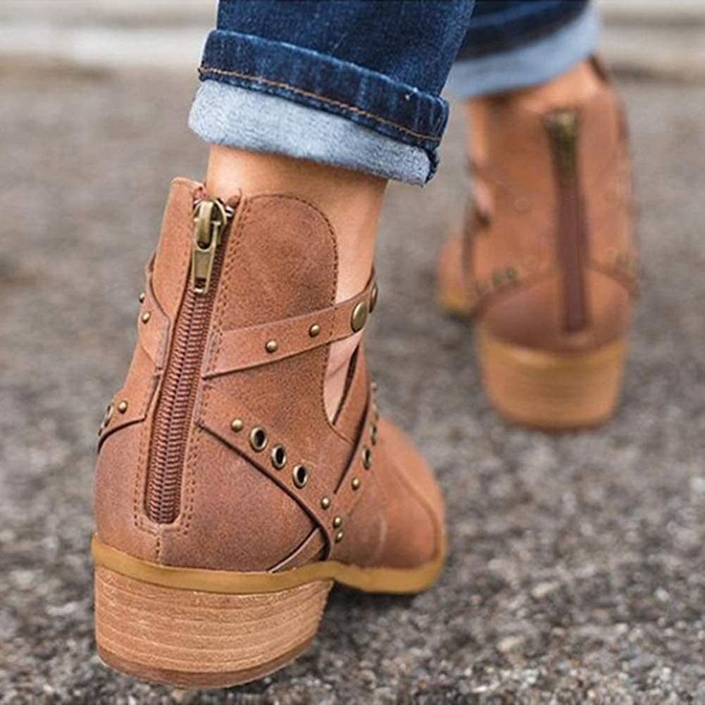 Minetom Women Hollow Ankle Boots Pointed Toe Chunky Low Heel Bootie Strappy Boot