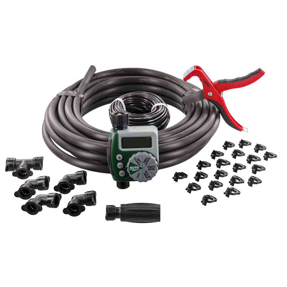 Orbit 61014 Garden Box Drip Watering Hose Faucet Timer Sprinkler Kit, Green, Gray