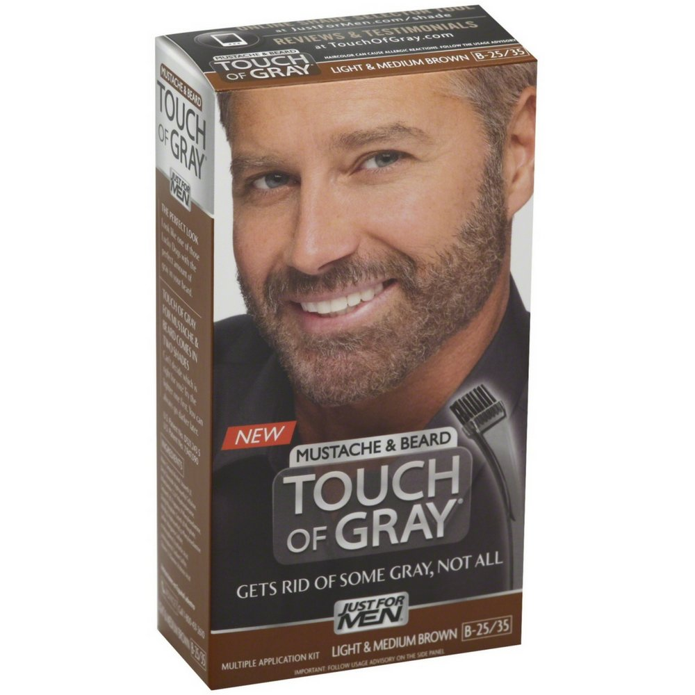 JUST FOR MEN Touch of Gray Hair Color, Mustache & Beard Kit, Light & Medium Brown B-25/35, 1 ea ( Pack of 12)