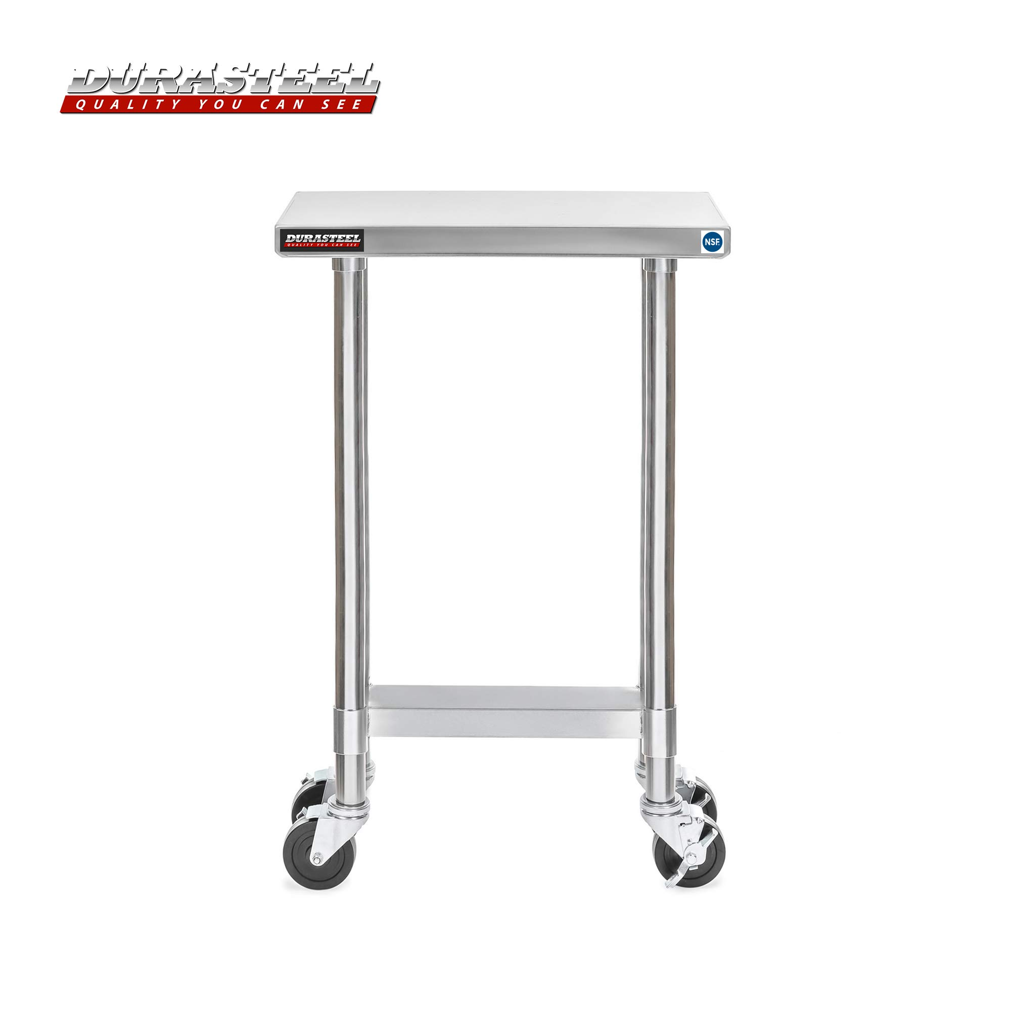 DuraSteel Stainless Steel Work Table 24'' x 12'' x 34'' Height w/ 4 Caster Wheels -  Food Prep Commercial Grade Worktable - NSF Certified - Good For Restaurant, Business, Warehouse, Home, Kitchen, Garage by DuraSteel (Image #2)