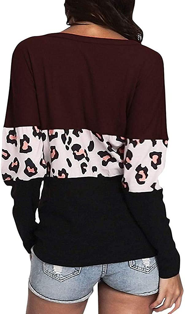AOJIAN Women Waffle Knit Contrast Color Leopard Printed Button Down V Neck Top Wine, S