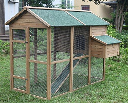 """Ardinbir Deluxe 79"""" Wood Chicken Coop Backyard Hen Run Ho..."""