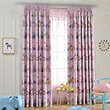 WPKIRA Girls Bedroom Printing Magic Paradise Cartoon Horse Cats Mouse Castle Grommet Top Room Darkening Thermal Insulated Blackout Curtains Drapes, 1 Panel Pink 84 inch Length by 52 inch Width