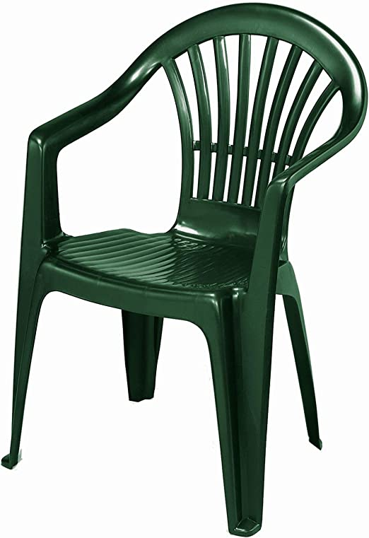 FineHome Altea - Silla apilable de plástico para jardín o balcón, apilable, Color Verde: Amazon.es: Jardín