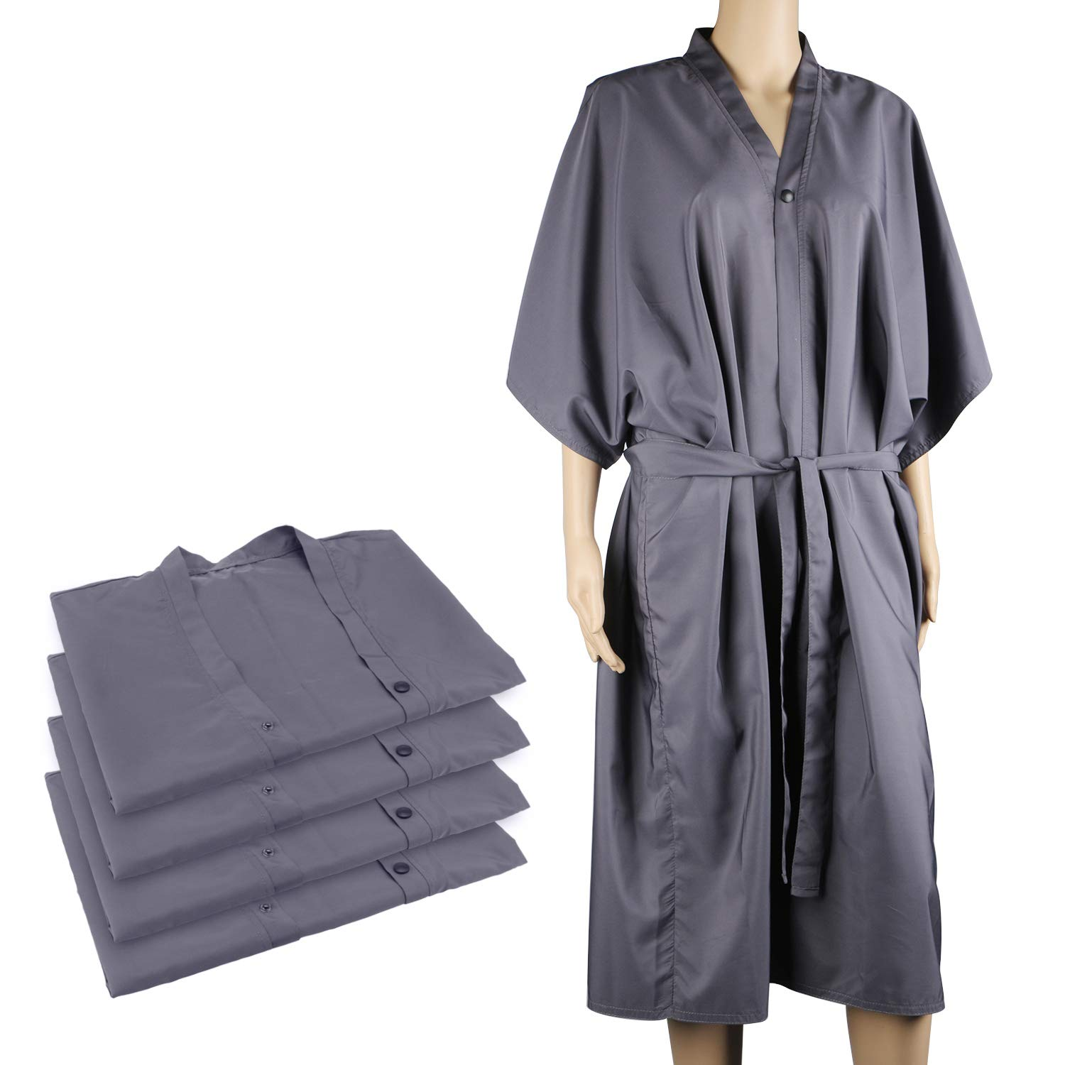 4packs Kimono Robes, Segbeauty 43 inches Long Lightweight Silky SPA Massage Robe, Smock Cape Dress Client Uniform Lab Gown for Beauty Salon Hair Makeup - Grey by Segbeauty