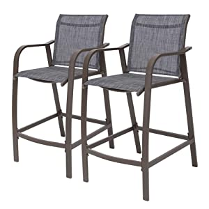 Crestlive Products Counter Height Bar Stools All Weather Patio Furniture with Heavy Duty Aluminum Frame in Antique Brown Finish for Outdoor Indoor, 2 PCS Set (Black & Gray)