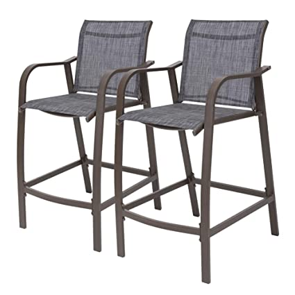 Groovy Crestlive Products Counter Height Bar Stools All Weather Patio Furniture With Heavy Duty Aluminum Frame In Antique Brown Finish For Outdoor Indoor 2 Machost Co Dining Chair Design Ideas Machostcouk