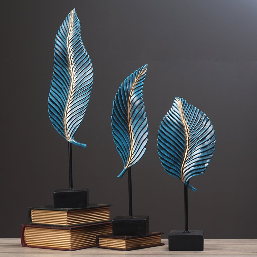 Vintage ornaments American style Antique green banana leaf Decoration set Creative living room hotel clubhouse Tree leaf decoration Resin crafts-A
