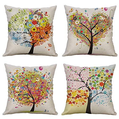 - MIULEE Pack of 4 Trees Series Colorful Pillow Covers Decorative Linen Square Throw Pillow Covers Soild Cushion Cases Flower Pattern Home Decor for Sofa Bedroom Car 18x18 Inch