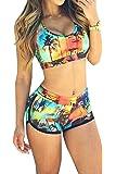 Viottis Women's Bandage Sporty Bathing Suit Boyleg Short Swimwear Swimsuit