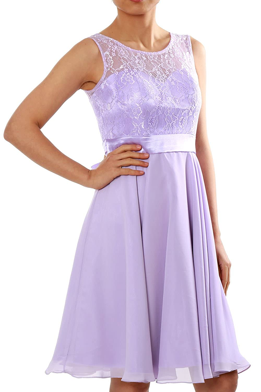 MACloth Women Short Lace Chiffon Bridesmaid Dress Cocktail Party Formal Gown