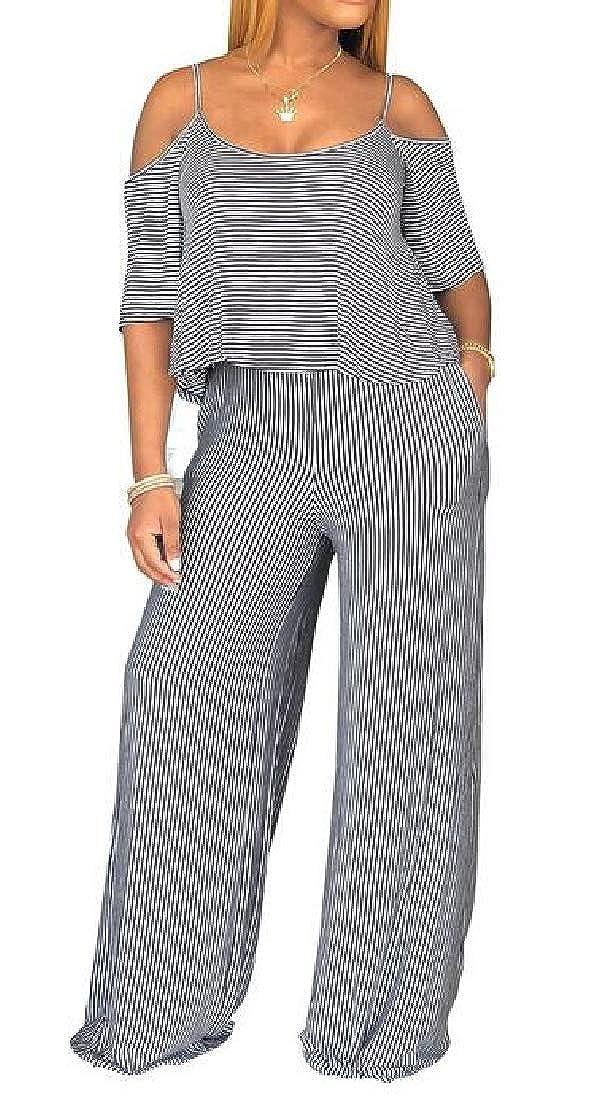 MK988 Womens Stripe Short Sleeve Wide-Leg Cold Shoulder Summer Beach Party Romper Jumpsuits