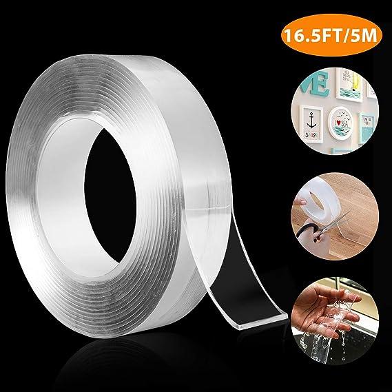 pegar fotos carteles y fijaci/ón de alfombras 3.3 pies multifuncional reutilizable lavable sin rastro Mokani Nano cinta adhesiva de doble cara fiestas tiras adhesivas de pared para cocina