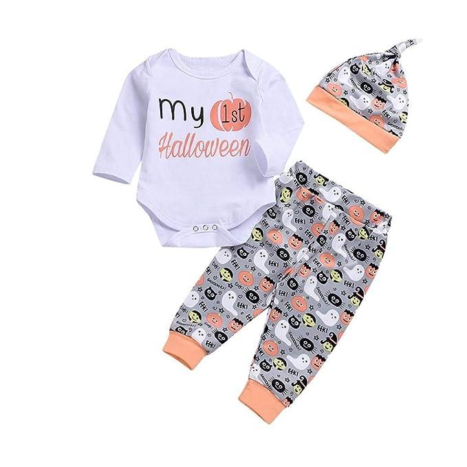 83ff64893a58 Amazon.com: 3PCS Halloween Kids Baby Costume Pumpkin Romper+Stripe Print  Pants+Hat Set Outfit: Clothing